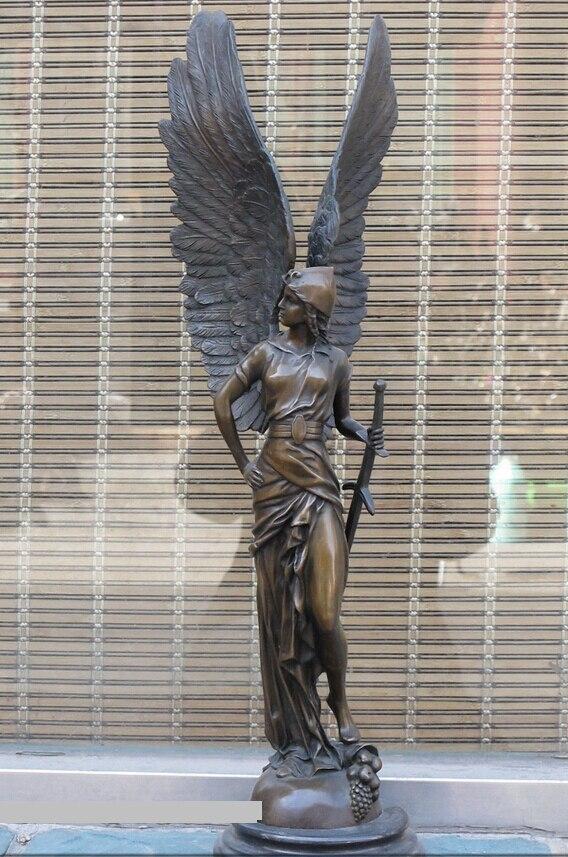 bi002260 25Western ART Bronze Matrble wing Statue Greek wisdom goddess of beauty Athena