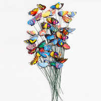 20pcs/pack 3D Colorful Butterfly Decorative On Sticks Home Yard Lawn Flowerpot Plant Decoration Garden Ornament DIY Lawn Craft