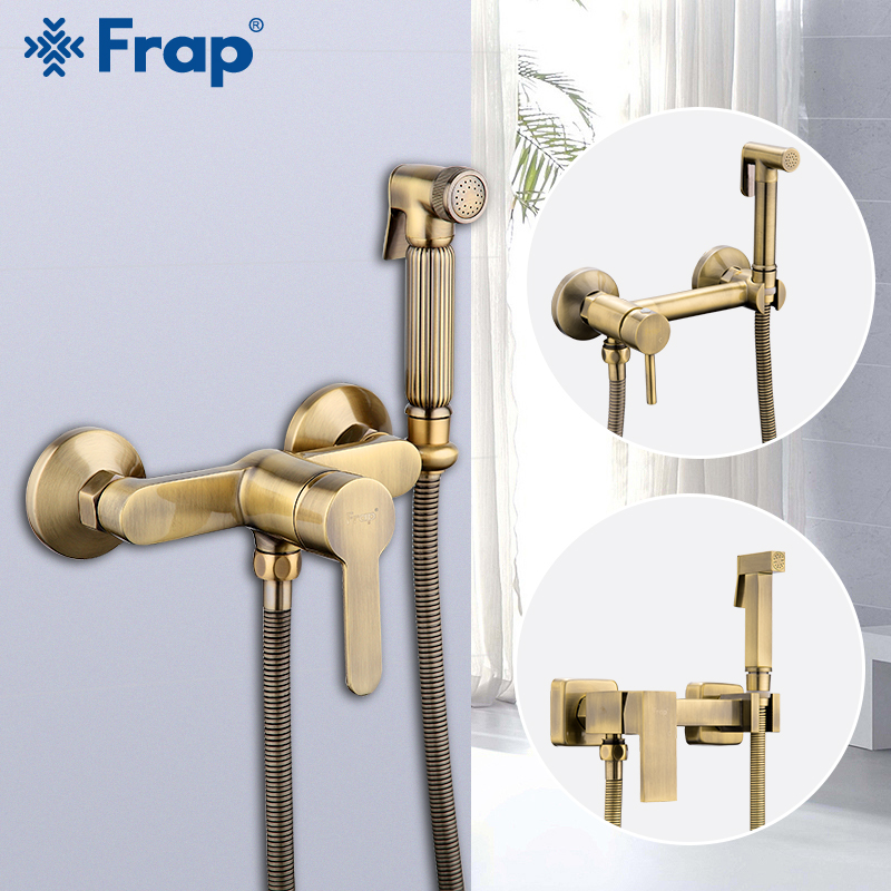 FRAP Bidets antique bronze shower head wash hygienic shower sprayer anal cleaning hot cold mixer toilet