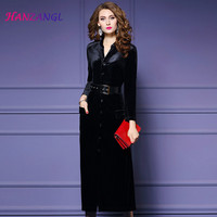 HANZANGL New Autumn Winter Velvet Empire Dress Female Single Breasted Lacing Elegant Temperament Mid Calf Dresses