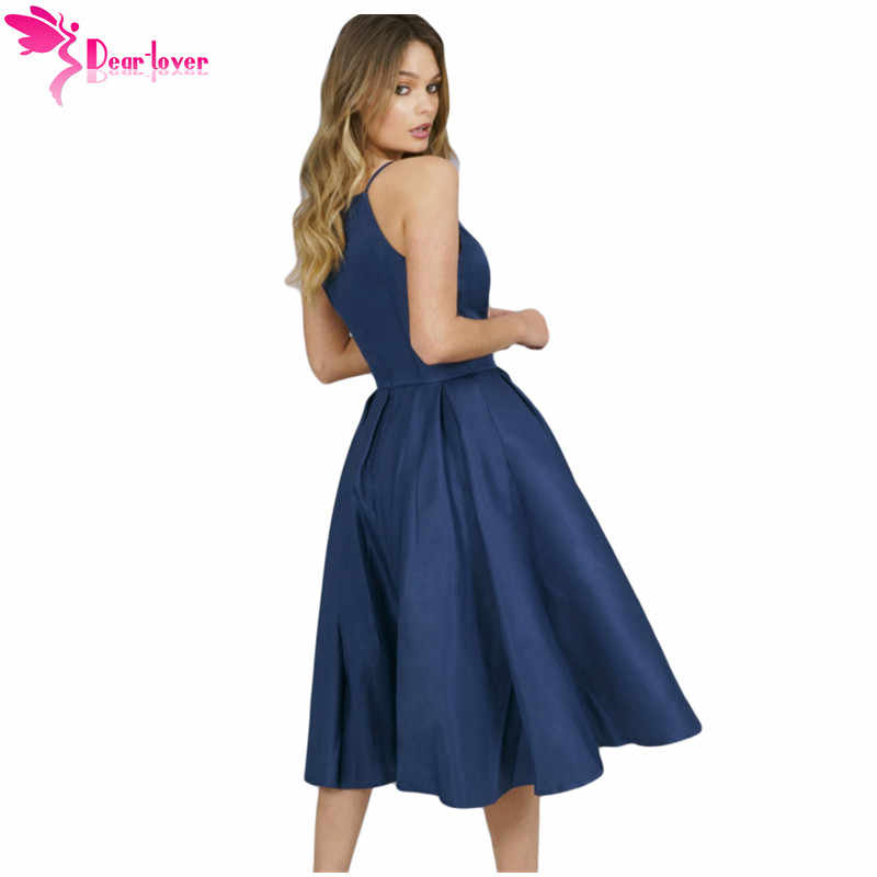 f681b7af34 ... Dear Lover A Line Dress Elegant Summer Party Navy Blue Spaghetti Strap  High Neck Midi Dress ...
