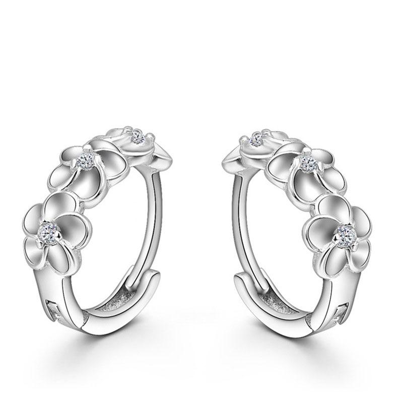 Лидер продаж 925 стерлингового серебра серьги тканые цветы Форма обруч серьги вставлять CZ Кристалл довольно серьги для свадебных аксессуаров