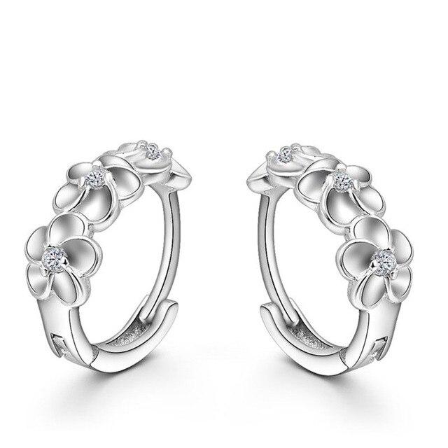 Top Bán 925 Sterling Bạc Bông Tai Dệt Hoa Shape Hoop Earrings Nhúng CZ Pha Lê Khá Earring Đối Wedding Phụ Kiện