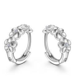 Лидер продаж 925 пробы серебряные серьги тканые цветы Форма Серьги Кольца Embed CZ Кристалл Красивая серьга для Свадебные аксессуары