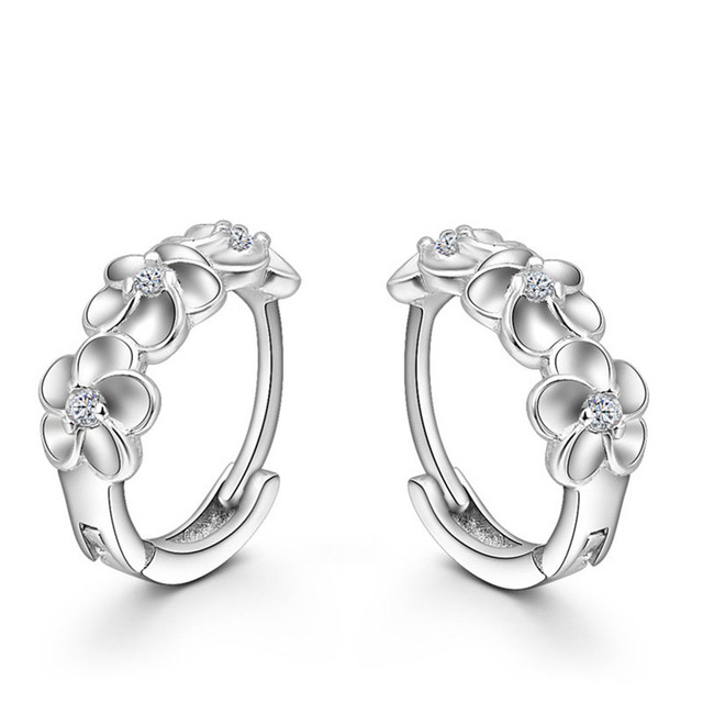 Top 925 Sterling Silver Earring Woven Flowers Shape Hoop Earrings Embed Cz Crystal Pretty