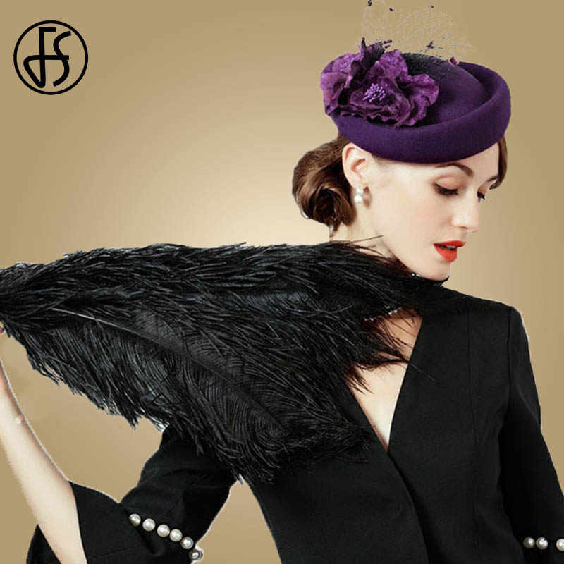 FS Fascinator 100% Wool Pillbox Hat Ladies Wedding Hats Purple Elegant Felt Fedoras For Women Female Flowers Black Derby Fedora