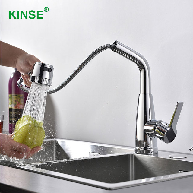 KINSE Modern Shining Chrome Pull Out Faucet High Quality Kitchen Faucet  With Two Function Sprayer