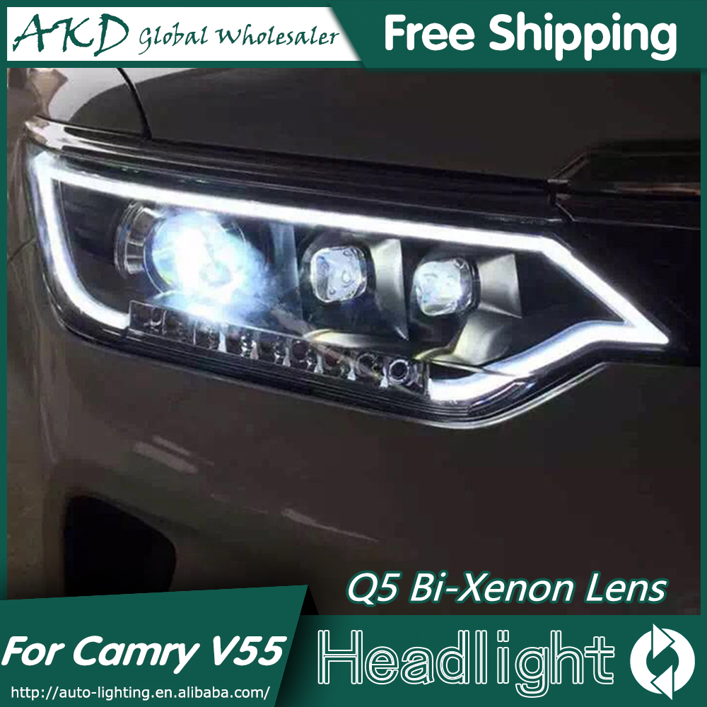 AKD Car Styling for Toyota Camry Headlights 2014-2015 Camry V55 LED Headlight DRL Bi Xenon Lens High Low Beam Parking Fog Lamp hireno car styling for toyo ta corolla 2011 13 headlights led super bright headlight drl xenon lens high fog lam