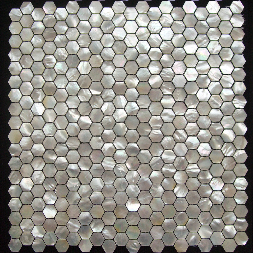 Hexagon White Mother Of Pearl Mosaic Tile Seashell