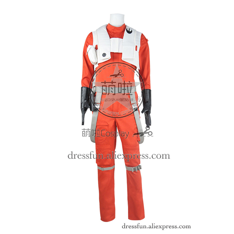 Star Wars la Force réveille Cosplay Costume Poe Dameron tenue uniforme de pilote x-wing combinaison Orange Halloween expédition rapide