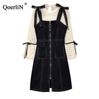 QoerliN 4XL 2 Piece Dress Sets Women 2019 Spring Summer Elegant Sundress Ladies Fashion Hollow Out Blouse Female Suits Plus Size