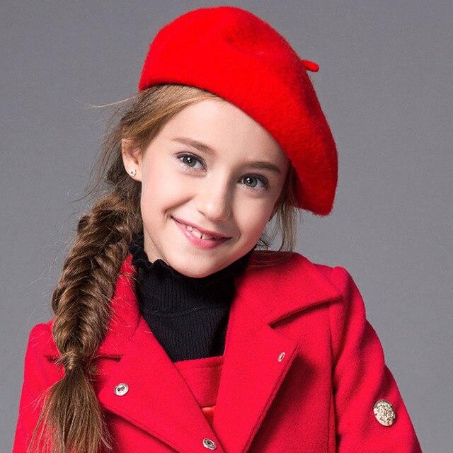 11 Colors Baby Girl Winter Cap Children Pretty Wool Felt Beret Toddler  Accessories Hats Kid Warm Fashion Beret Caps e18a7510377a