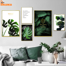 Fresh Monstera Palm Leaf Green Quotes Wall Art Canvas Painting Nordic Posters And Prints Plant Pictures For Living Room