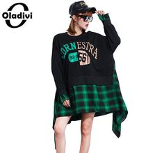 Oladivi Plus Size Women Apparel Casual Ladies Oversized Blouses Print Plaid Shirt Top