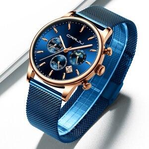 Image 2 - CRRJU Reloj de pulsera deportivo para hombre, cronógrafo de malla, informal, resistente al agua, con fase lunar, color azul