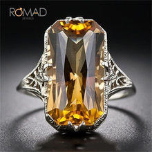Big Stone Square Clear Gold Zircon แหวน(China)