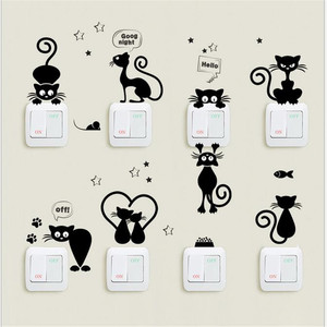 Hot Selling Black Cartoon Cat DIY Switch Posted Wall Stickers Home Decor Living Room Decor For Home Interior(China)