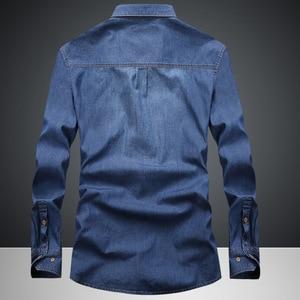 Image 2 - Envmenst Brand Clothing Denim Shirts Men Casual Long Sleeve Tops Fashion Slim Camisa Jeans mMale Blouses 4XL US European Style