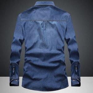 Image 2 - Envmenst marca roupas denim camisas dos homens casual manga longa topos moda magro calça jeans mmale blusas 4xl eua estilo europeu