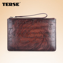 TERSE_Hot selling 100% handmade genuine leather clutch bag with wristlet engraving service fashion ipad bag in coffee/ burgundy