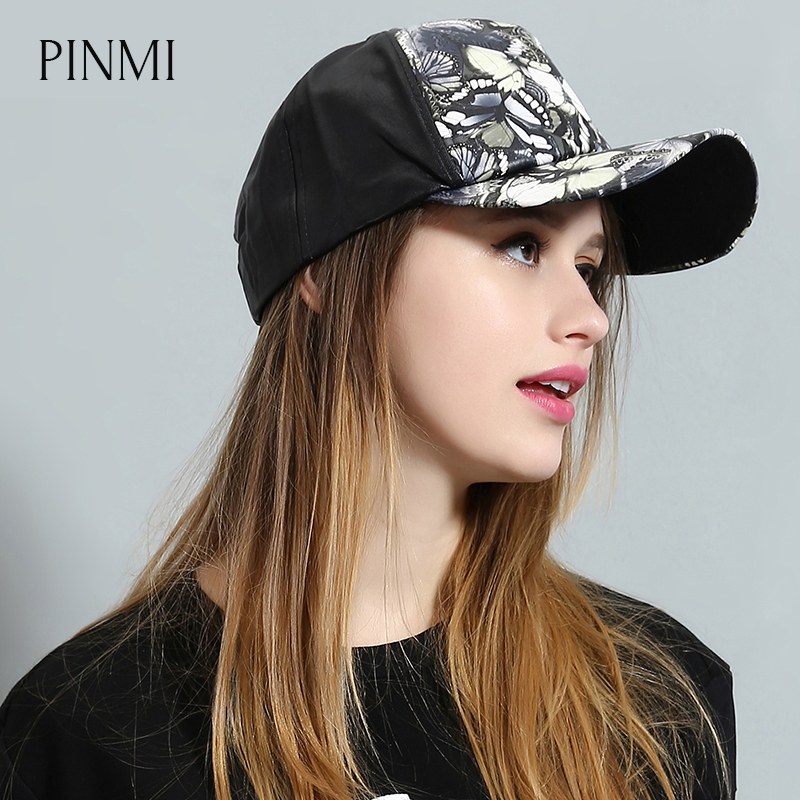 PINMI 2017 Animal Pattern Men Baseball Cap Women Adjustable Black Leather Snapback Cap Unisex Butterfly Colorful Couple Hat Lady