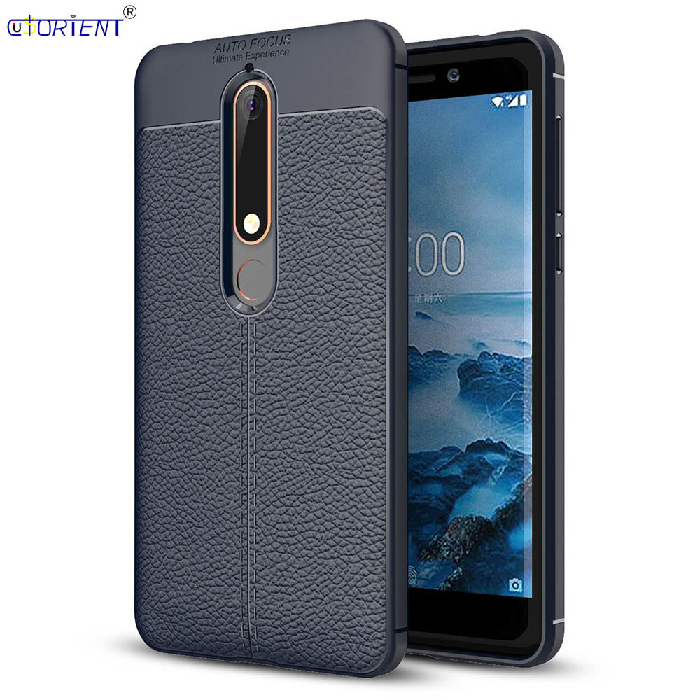 Nokia 6.1 6 2018 Shockproof Matte Phone Case TA-1043 TA-1016 Soft Silicone Bumper Cover TA-1045 1050 1068 Leather Texture Funda