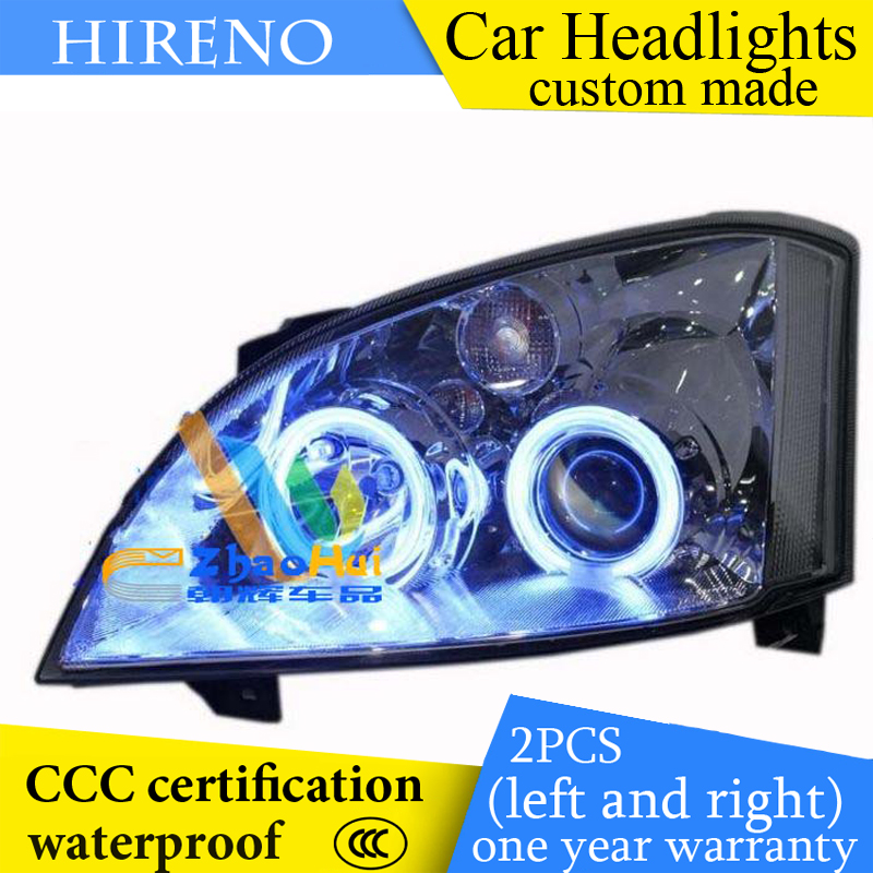 Hireno custom Modified Headlamp for Chery A5 Headlight Assembly Car styling Angel Lens Beam HID Xenon 2 pcs hireno headlamp for cadillac xt5 2016 2018 headlight headlight assembly led drl angel lens double beam hid xenon 2pcs