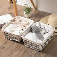 Japanese style canvas iron collection basket table fruit fruit snack storage box fruit basket storage basket
