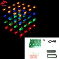 2017 New LED DIY KIT 3d Multicolor Light Cubeeds Electronic DIY Kit 4X4X4 Free Shipping