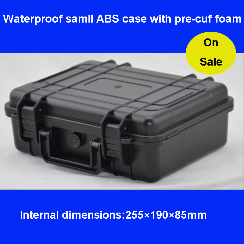 ABS Tool Case Toolbox Impact Resistant Sealed Waterproof Equipment Camera Suitcase With Pre-cut Foam Shipping Free