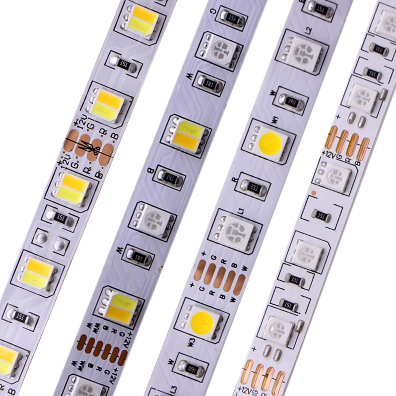 5M 5050 SMD LED Strip RGB RGBW (RGB + White) RGBWW (RGB+Warm White) RGBCCT Flexible LED String light 5M/ 300 LEDs 12V 24V Home 72w 3600lm 6500k 300 5050 smd led white light lamp strip w rf dimmer black white yellow 5m