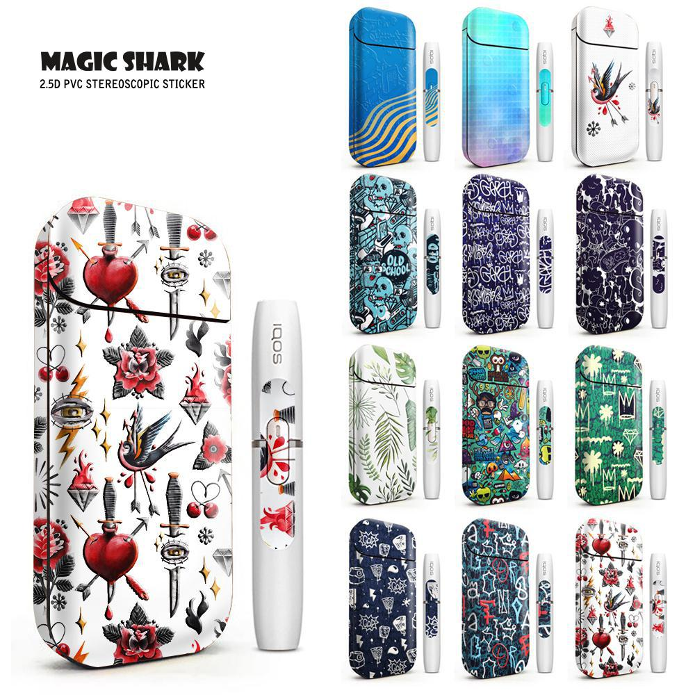 Magic Shark 2019 Fashion Bird Flower Heart Bumpy Sticker Skin For IQOS 2.4 Plus 2.4p Electronic Cigarette Case Cover