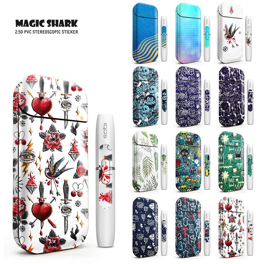 Magic Shark 2019 Fashion Bird Flower Heart Bumpy Sticker Skin For IQOS 2.4 Plus 2.4p Electronic Cigarette Case Cover