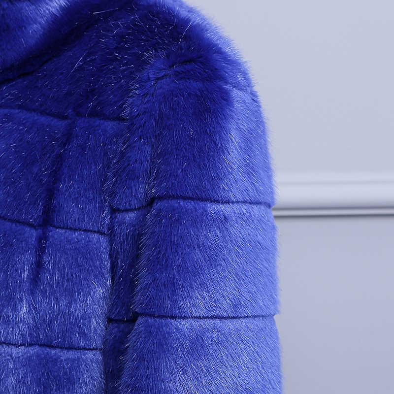 Nerazurri اضافية طويلة منفضة فو الفراء معطف الأزرق الدافئة الفاخرة موضة 2019 المدرج حجم كبير الشتاء وهمية فرو منك معطف 5xl 6xl