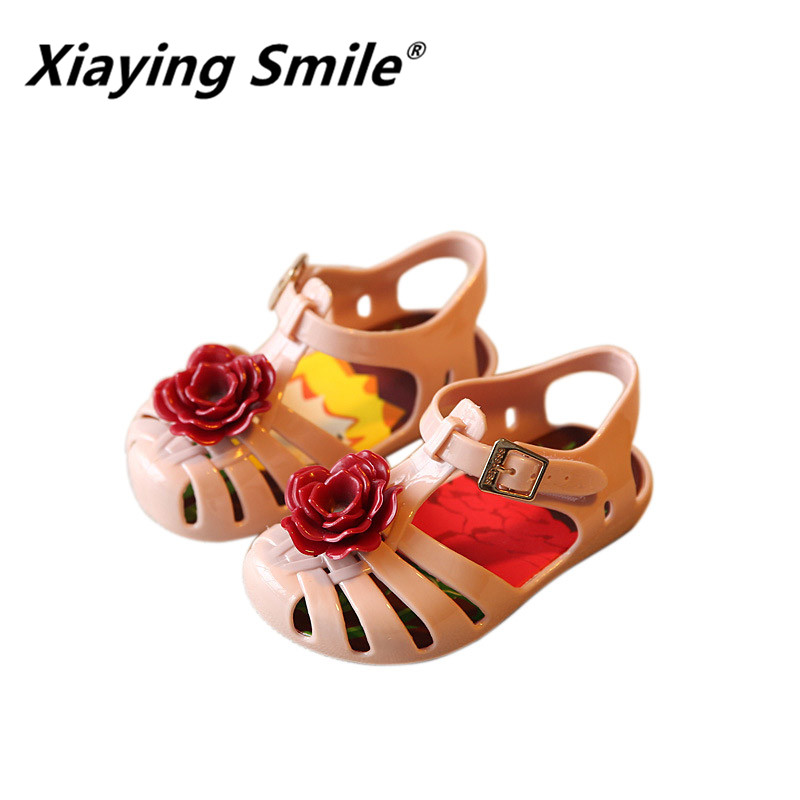 Summer Prince Jelly children shoes Rose Flower rubber sfot bottom baby girls boys fashion casual comfortable kids sandals