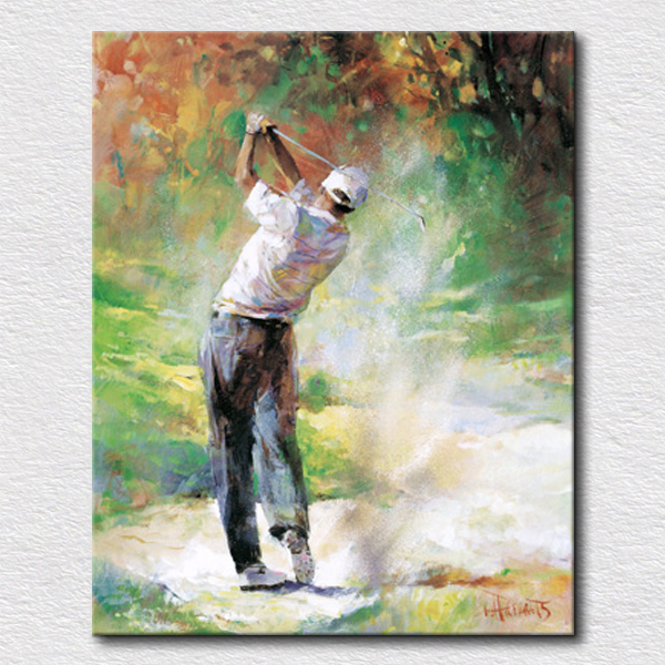 Modern golf sport oil painting high quality reproduction oil painting from photo decorative canvas art for friends gift