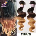 Unprocessed virgin brazilian hair ombre 3 tone body wave 3pcs human weave weft extension ombre brazilian hair dark brown ombre