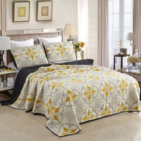 CHAUSUB AB side Bedspread Cotton Quilt Set 3PCS Europe Embroidered Quilts Bed Cover Pillowcase King Queen Size Quilted Coverlet