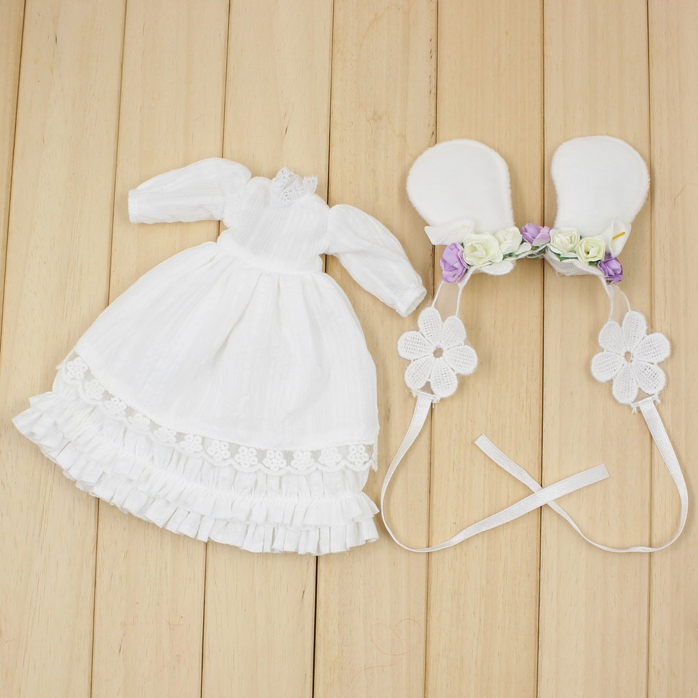 Neo Blythe Doll Floral Lace Dress with Bow, Ear & Headdress 6