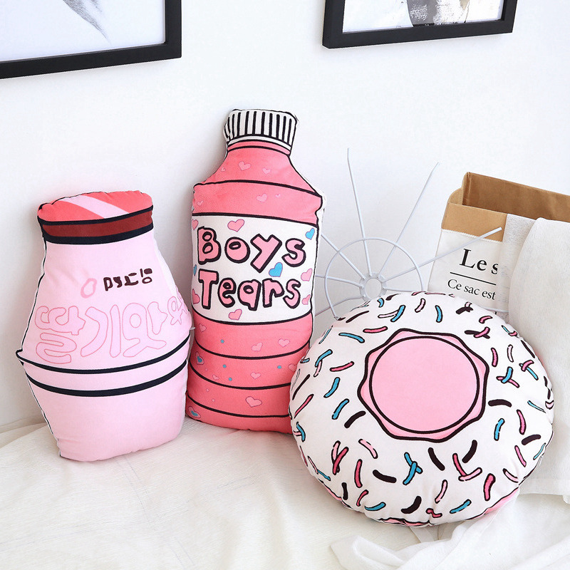 Cute Pink Donut Bottle Shape Plush Toys Pillow Baby Kids Sleep Toys Gift Nordic Style Sofa Room Bed Decoration Photo Props