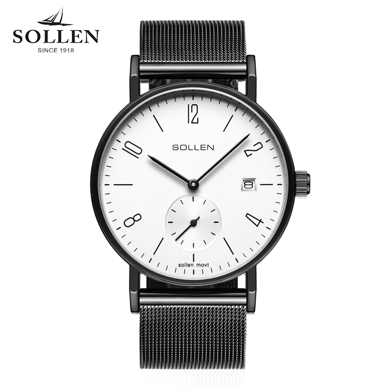 SOLLEN Brand luxury business watch men's quartz watch Stainless Steel band Mesh Japan movement men's Vintage Dress Men Relogio black fashion luxury man watch woman unisex brand simple business mesh stainless steel band japan quartz thin waterproof relogio