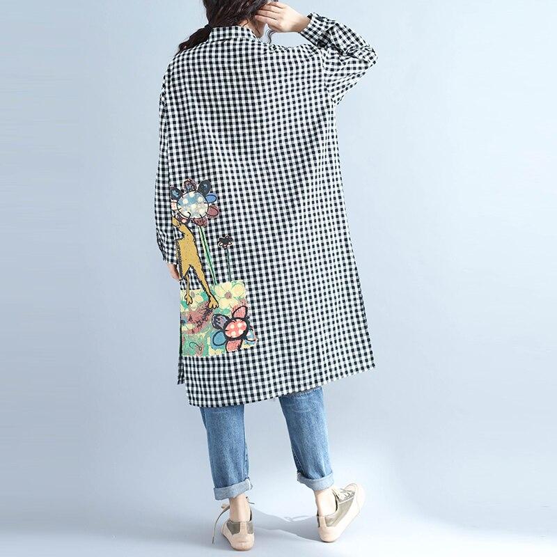 MissLymi XXL 4XL Plus Size Women Lattice Shirt Dress 2017 Autumn Long  Sleeve Cartoon Cat Floral Print Loose Long Linen Dresses-in Dresses from  Women s ... f056c57d286d
