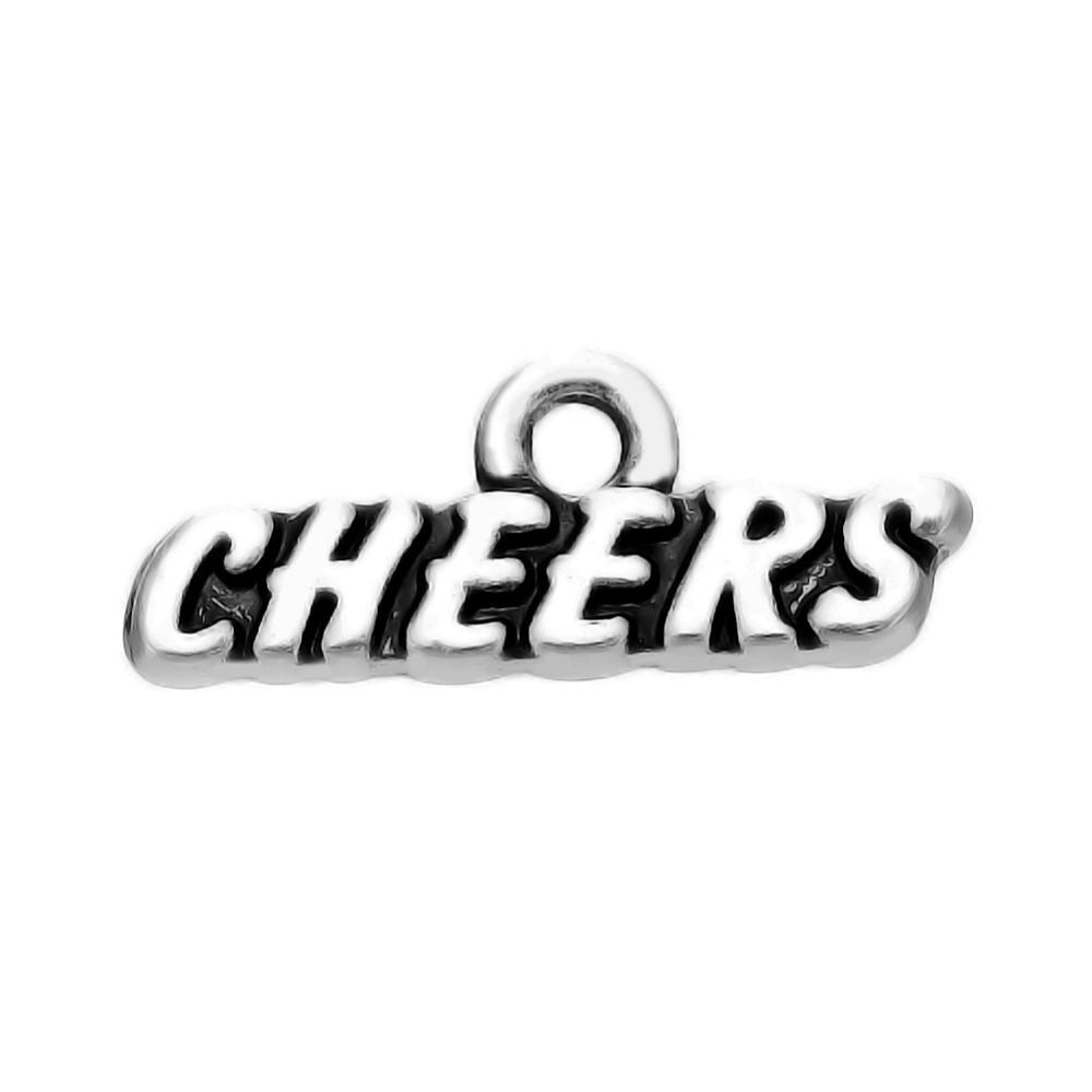 My shape 60pcs cheers word charms for jewelry making ...