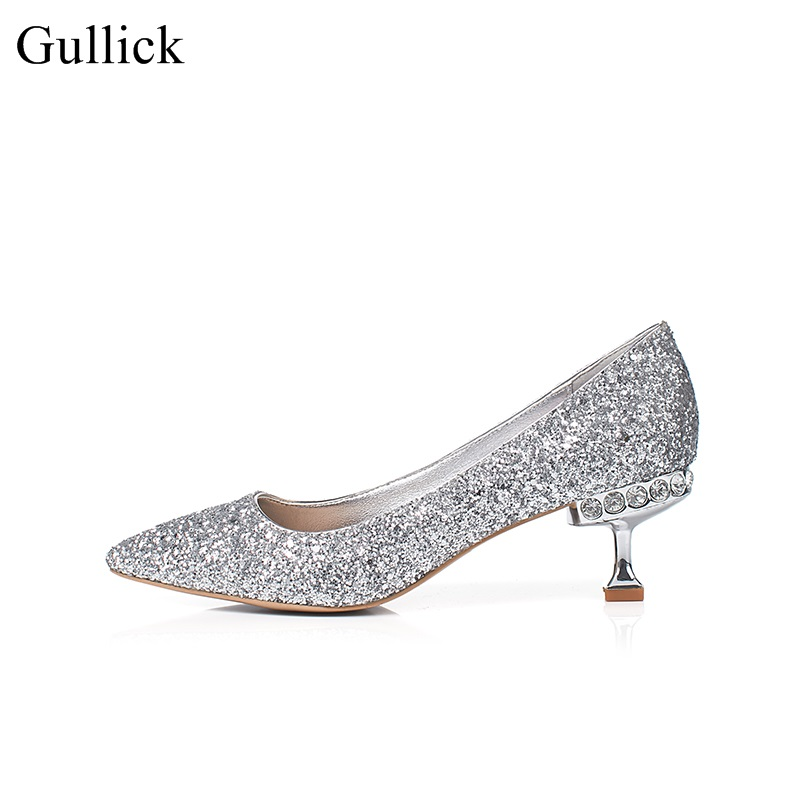 Gullick Spring Bling Bling Glitter Wedding Shoes 2018 Pointed Toe Woman Pumps Sexy Thin Heels Dress Shoes Silver Champagne sparkling glitter pointed toe pumps fashion shoes with matching clutch bag bling bling kit silver red party queen set prom kit