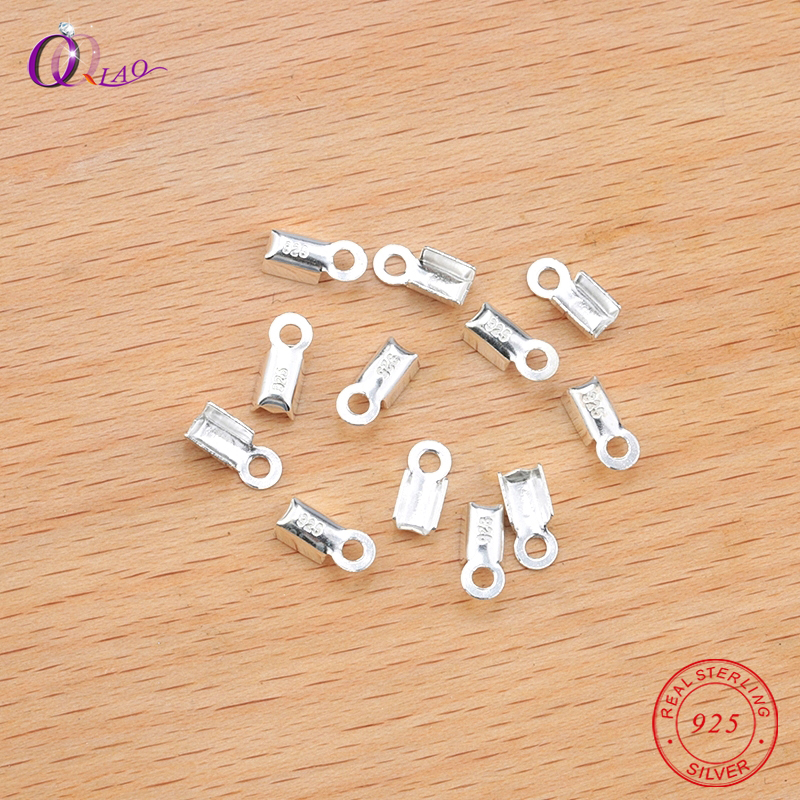 10PCS 8*3mm 925 Sterling Silver Leather Cord Crimp End Beads Buckle Tips Clasp Cords Connectors For Necklace Bracelelet Making