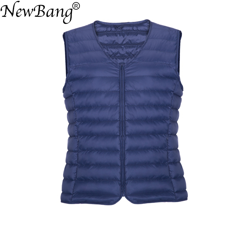 NewBang Brand Men   Down   Vest Ultra Light   Down   Vest Portable V-neck Sleeveless   Coat   Man Winter Without Collar Warm Liner