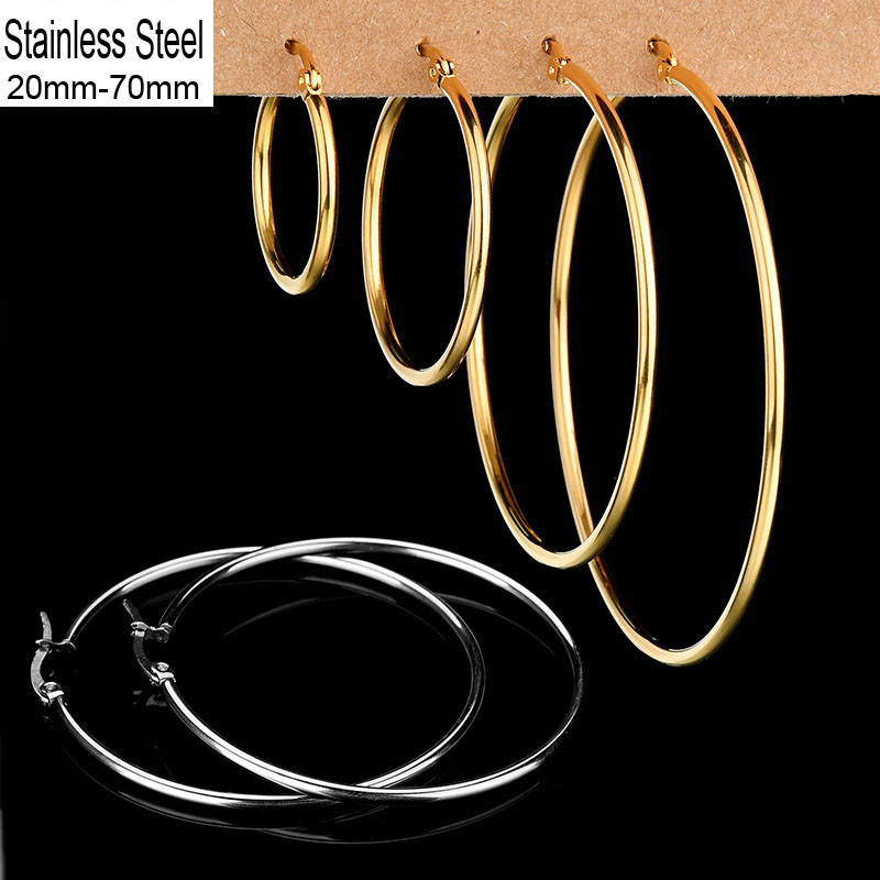Simple Pendientes Mujer Big Earrings Stainless Steel Gold/Silver Color Circle Basketball Earring For Women /Girl Jewelry