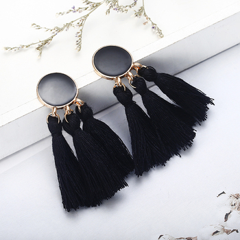 Bohemia Statement Tassel Gold Color Round Drop Earrings 3