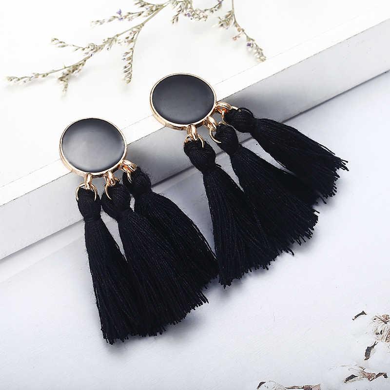 Bohemia Statement Tassel Earrings Gold Color Round Drop Earrings for Women Wedding Long Fringed Earrings Jewelry Gift e0343