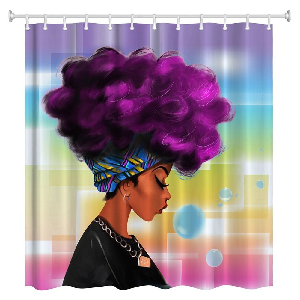 Women Black Shower Curtain African With Purple Hair Hairstyle Waterproof Mildew Resistant Fabric In Curtains From Home Garden